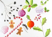 Watercolor set of christmas elements stock image