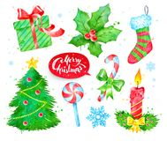 Watercolor set with Christmas symbols Royalty Free Stock Images