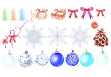 Watercolor Set with Christmas toys and gifts, snowflakes. stock images