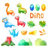 Watercolor set collection cute dinosaurs and colorful eggs, a volcano, leaves, comets,step,bushs and the words Dino on a white royalty free illustration