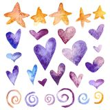 Watercolor Hearts set stock photos