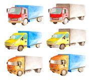 Watercolor set collection of light commercial vehicles in white background isolated. Drawing transport truck lorry van car carrier cargo transportation royalty free stock photography