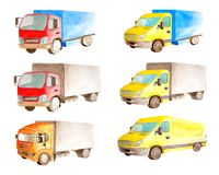 Free Watercolor Set Collection Of Light Commercial Red And Yellow Vehicles In White Background Isolated Stock Images - 144488544