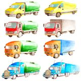 Watercolor set collection of trucks carrying solid and liquid goods on a white background isolated for logistics and transport royalty free illustration