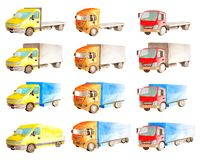 Watercolor set collection of vehicles  trucks, lorries, vans in different colors, types in white background royalty free illustration