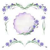 Watercolor set of cornflowers elements, frame border, floral decorative ornament Royalty Free Stock Photo