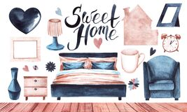 Watercolor set of cozy home objects for bedroom with hand drawn bottom border template. Sweet home logo, decorative elements and
