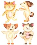 Watercolor set with cute cartoon cats and dogs.