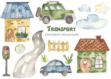 Watercolor set with a cute cartoon kids transport for a boy.