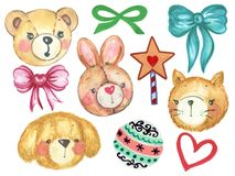 Watercolor set of cute cartoon watercolor Rabbit Bunny Teddy bear Cat doll Dog Doll and Cute Star Pastel Ball with Ribbon stock illustration