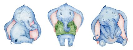 Watercolor set with cute elephants animal illustration. Watercolor set with cute elephants animals hand drawn illustration royalty free illustration
