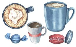 Watercolor set with drink and sweets royalty free illustration