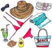 Watercolor set of elements of beach rest Royalty Free Stock Images