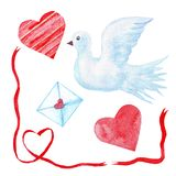Watercolor set of elements - dove, hearts, envelope, ribbons. collection for design