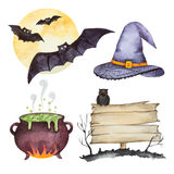 Watercolor set of elements for Halloween party Royalty Free Stock Photos