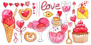 Watercolor set of elements for Valentine`s day. stock illustration