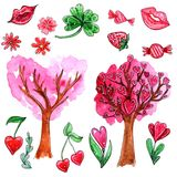 Watercolor set of elements for Valentine`s day royalty free illustration