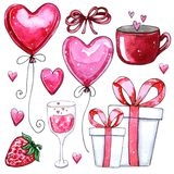 Watercolor set of elements for Valentine`s day stock illustration