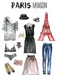 Watercolor set of fashion icons Paris Stock Photography