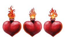 Watercolor flaming heart. Watercolor set of flaming hearts isolated on white background. Hand painted old school tattoo design. Traditional style Stock Images