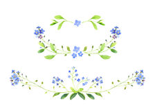 Watercolor. Set of floral decors. Forget-me-not. Royalty Free Stock Photos