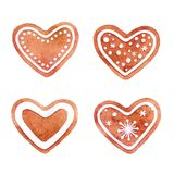 Watercolor set of gingerbread heart cookies, hand drawn illustration, gingerbread cookies, New Year and Christmas decorations. Isolated on white background stock illustration