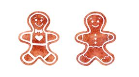 Watercolor set of gingerbread man cookies, hand drawn illustration, gingerbread cookies, New Year and Christmas decorations. Isolated on white background stock illustration