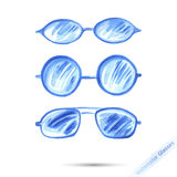 Watercolor set glasses. Watercolor abstract set glasses. Vector Stock Photography