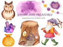 Watercolor set of gnome, owls, stump houses, crystals, a bag of treasure. stock illustration