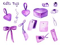Watercolor set with hand drawn colorful heart, pink box, purple tags, violet gift wrap, bows isolated on white background romantic vector illustration