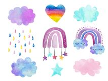 Watercolor set hand painted cute rainbows