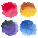 Watercolor set of hand painted stains Stock Image