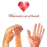 Watercolor set hands together on Mother`s Day vector illustration