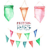 Watercolor set for holiday, birthday, feastival flags. Grren pink orange flags Stock Photography