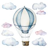 Watercolor set with hot air balloon and clouds. Hand painted sky illustration with aerostate isolated on white. Background. For design, prints, fabric or stock illustration