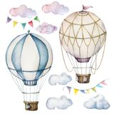 Watercolor set with hot air balloons and garland. Hand painted sky illustration with aerostate, clouds and flags
