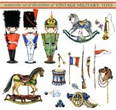 Watercolor set of illustrations of vintage military toys stock illustration
