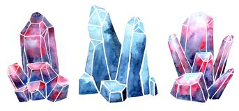 Watercolor set image of a crystal with a texture of space, starr vector illustration