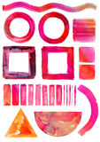 Watercolor set of isolated circles, squares, triangle, stripes, lines. Hand painting watercolor art on white paper Royalty Free Stock Photography
