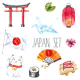 Watercolor set of Japan. Stock Image