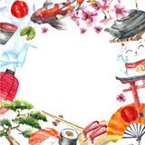 Watercolor set of Japan. Royalty Free Stock Photos