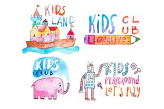 Watercolor set of kids club and playground logos. Hand-drawn collection of promotional symbols with calligraphic Stock Images