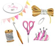 Watercolor set of knitting tools and crafts stock illustration