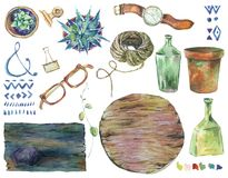 Watercolor set of lifestyle objects. Label wood boards and flowers pots, succulents, ornaments, bottle, glasses, wristwatch, rope isolated on white background Royalty Free Stock Image