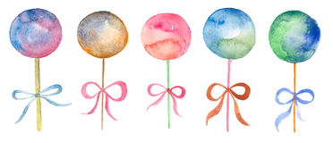 Watercolor set of lollipop. Watercolor set hand drawn lollipop isolated on white. Hand drawn food art Royalty Free Stock Photo