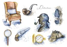 Free Watercolor Set Pattern With Sherlock Holmes Objects Stock Images - 115530524