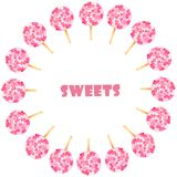 Watercolor set with pink sweets vector illustration