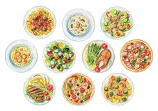 Watercolor set with plates with ten ready meals. Set with salads, pasta, pizzas, soups and dishes with two options of steaks on white background. Watercolor hand Royalty Free Stock Image