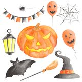 Watercolor set  for halloween with pumpkin. stock illustration