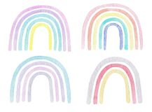 Watercolor set of rainbow in pastel color. Childish art illustration clipart in trendy scandinavian style